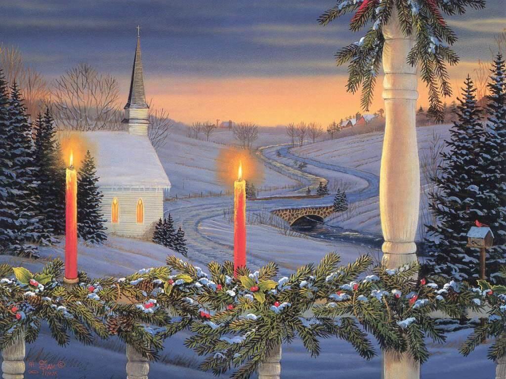 037 vánoční krajina - Christmas landscape