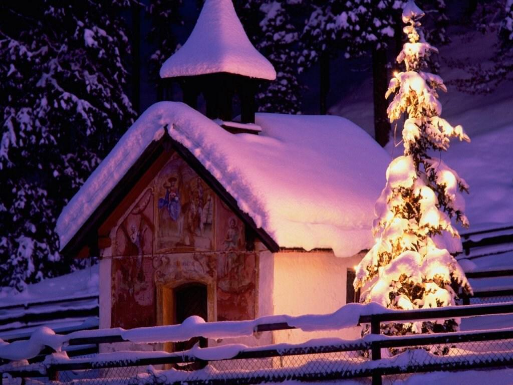038 vánoční krajina - Christmas landscape