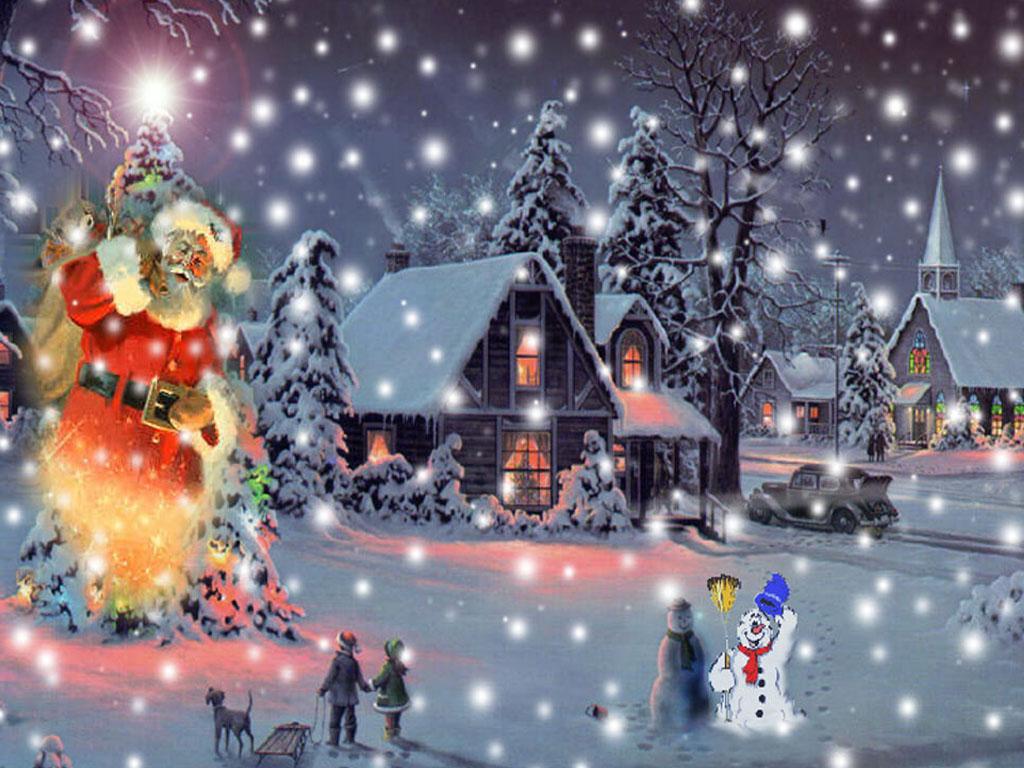 039 vánoční krajina - Christmas landscape