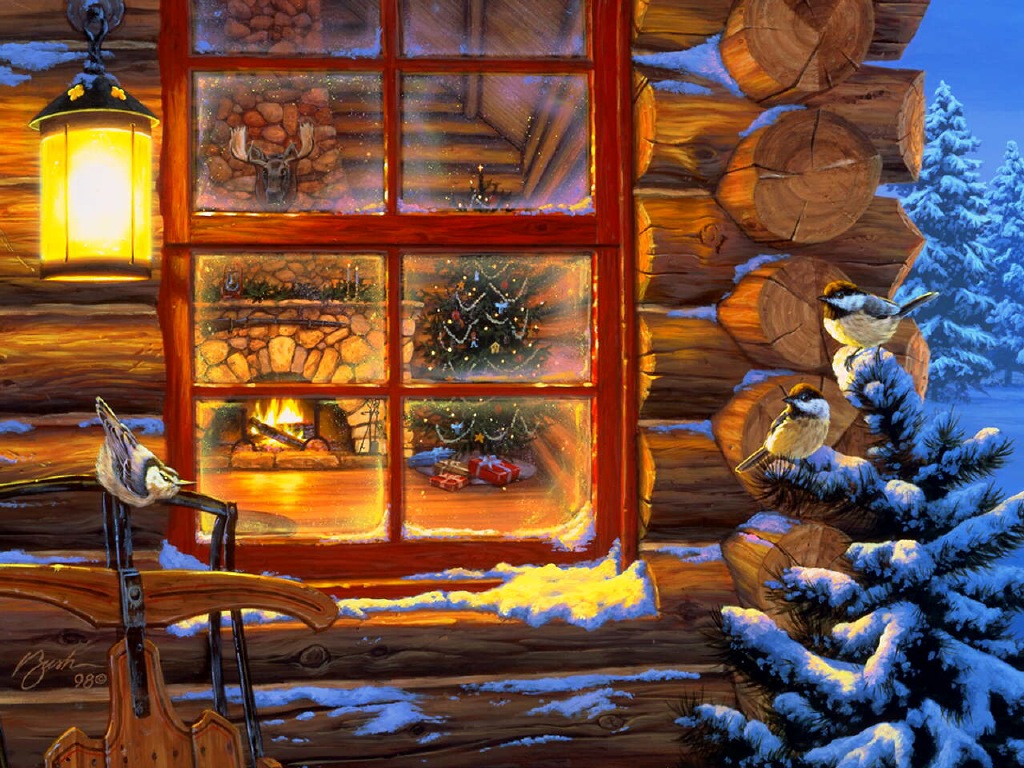 043 vánoční krajina - Christmas landscape