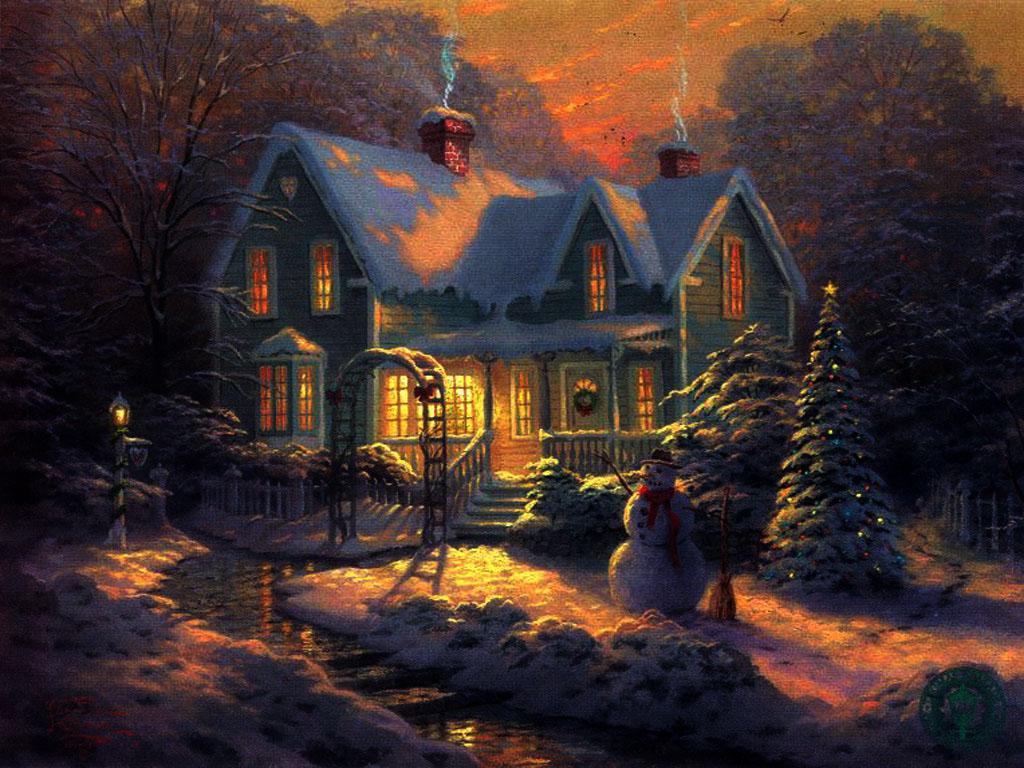 044 vánoční krajina - Christmas landscape