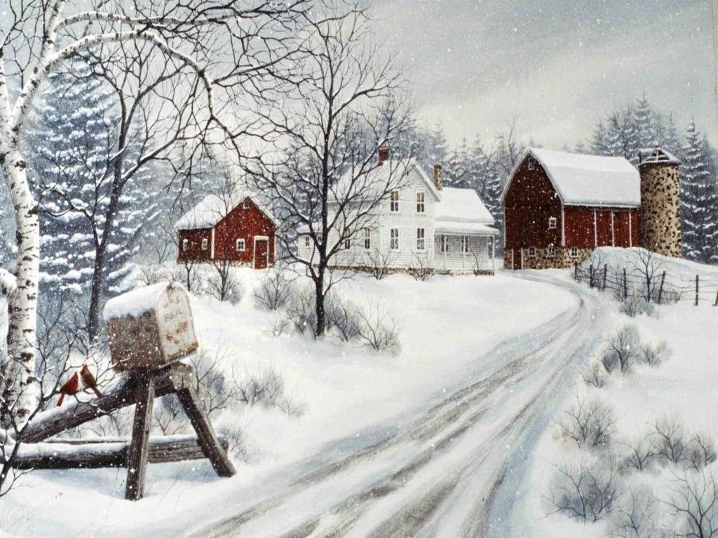 045 vánoční krajina - Christmas landscape