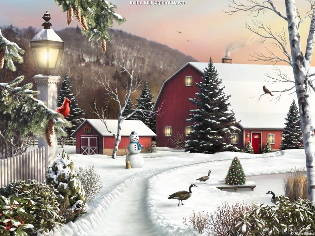 046 vánoční krajina - Christmas landscape