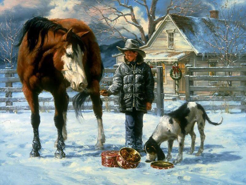 048 vánoční krajina - Christmas landscape