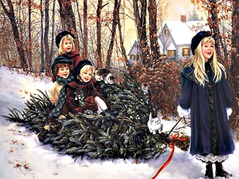 049 vánoční krajina - Christmas landscape