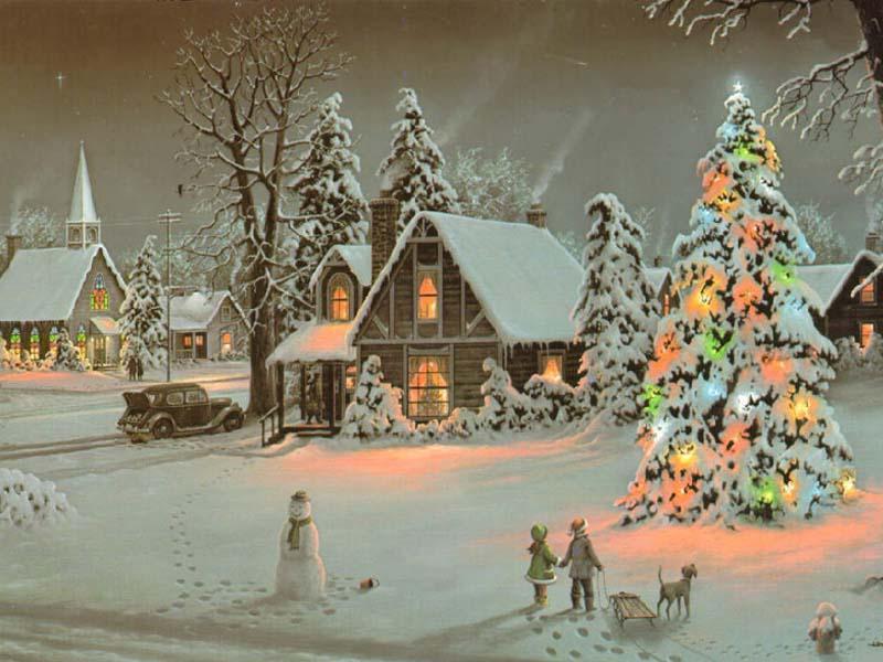 051 vánoční krajina - Christmas landscape
