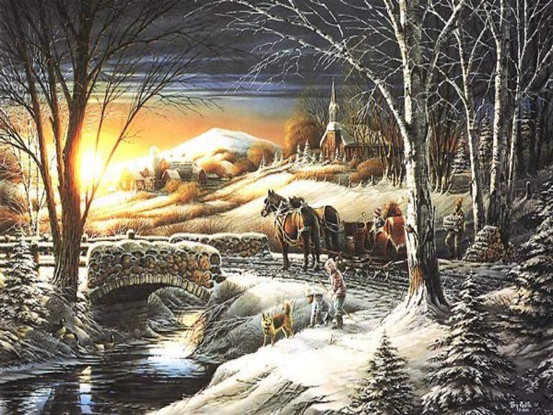 052 vánoční krajina - Christmas landscape