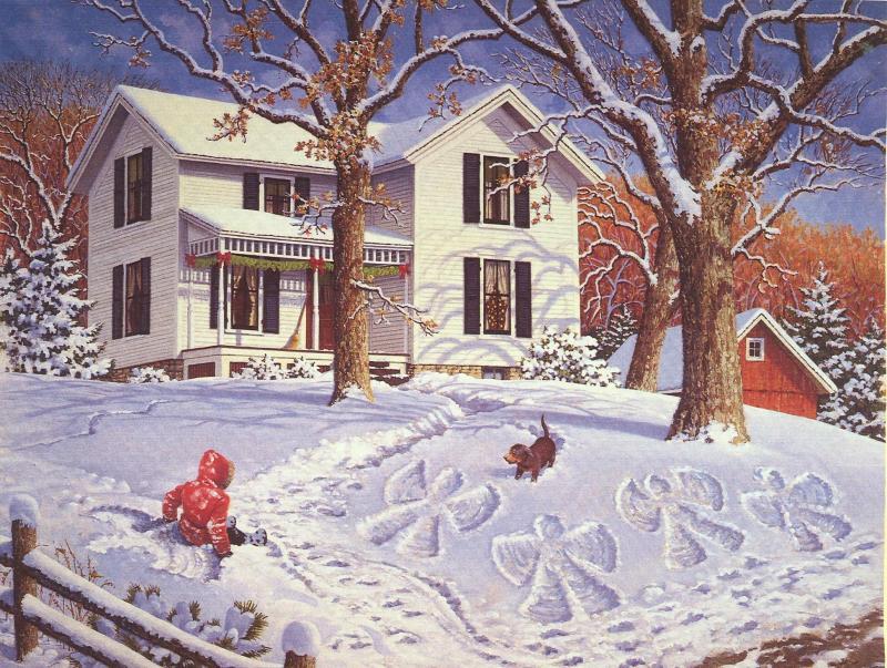 053 vánoční krajina - Christmas landscape