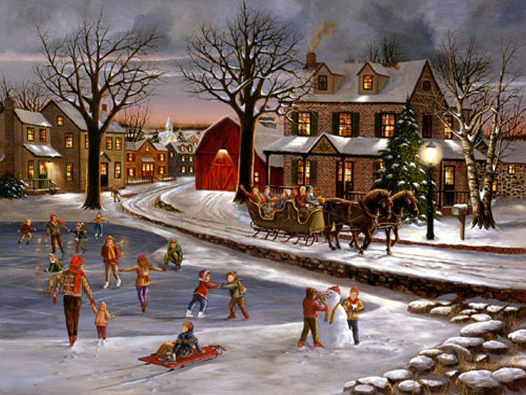054 vánoční krajina - Christmas landscape