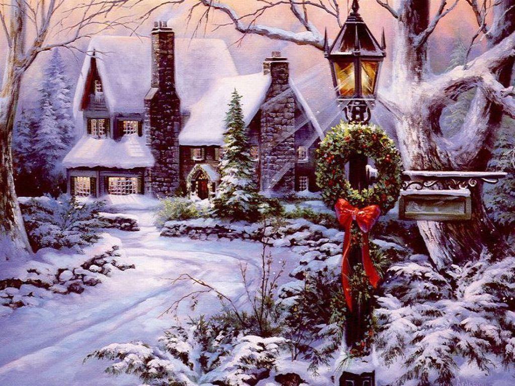057 vánoční krajina - Christmas landscape