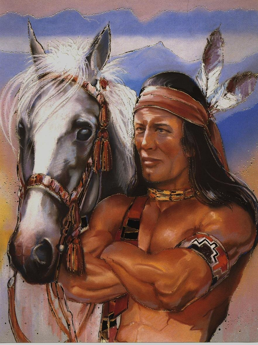058 indiánské motivy obrázky - Indián
