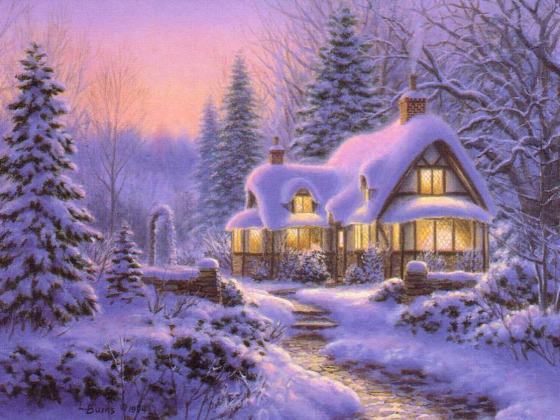 058 vánoční krajina - Christmas landscape