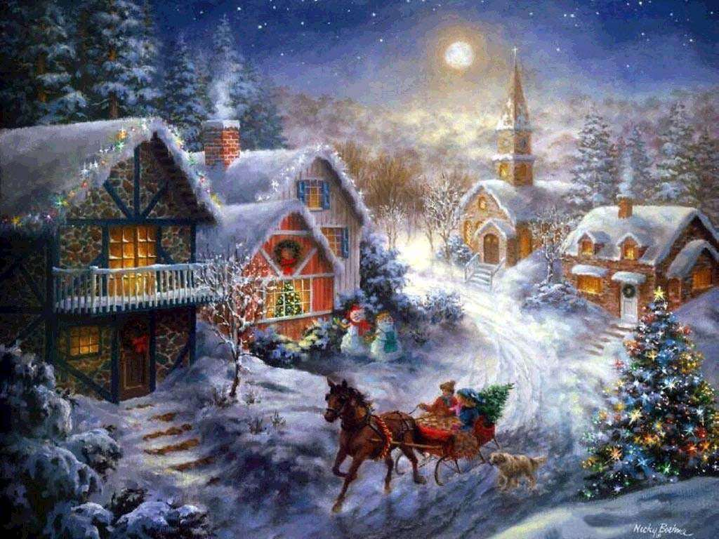 061 vánoční krajina - Christmas landscape