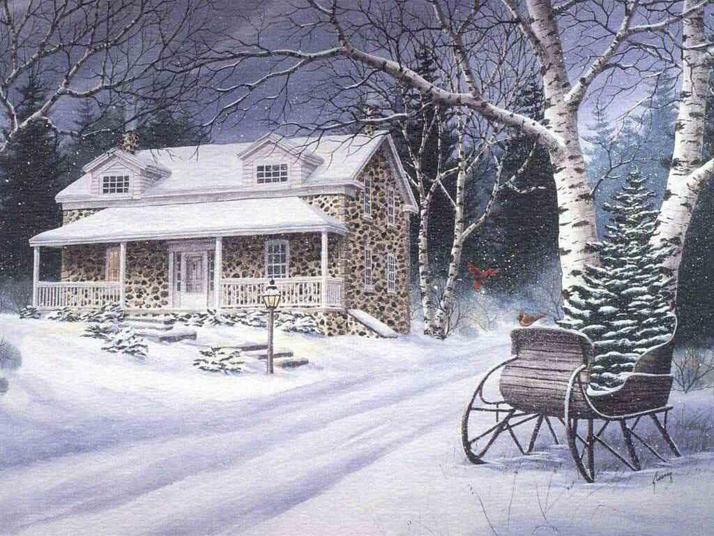 062 vánoční krajina - Christmas landscape