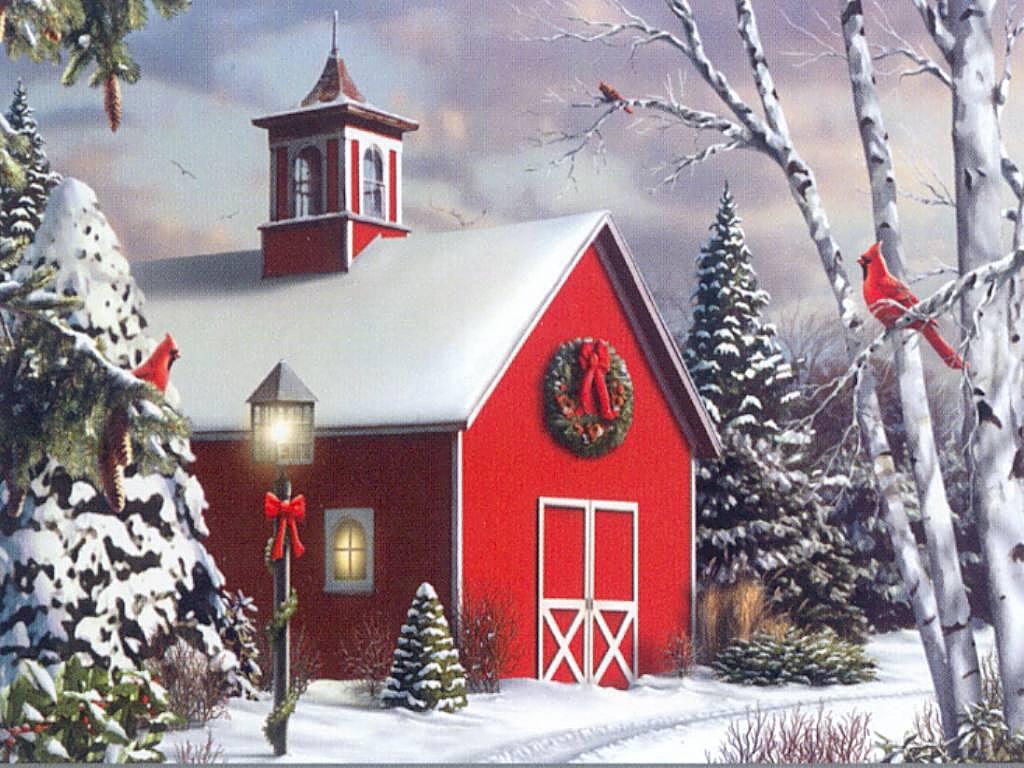 064 vánoční krajina - Christmas landscape