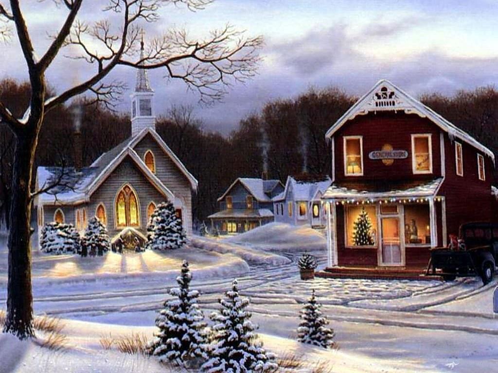 067 vánoční krajina - Christmas landscape