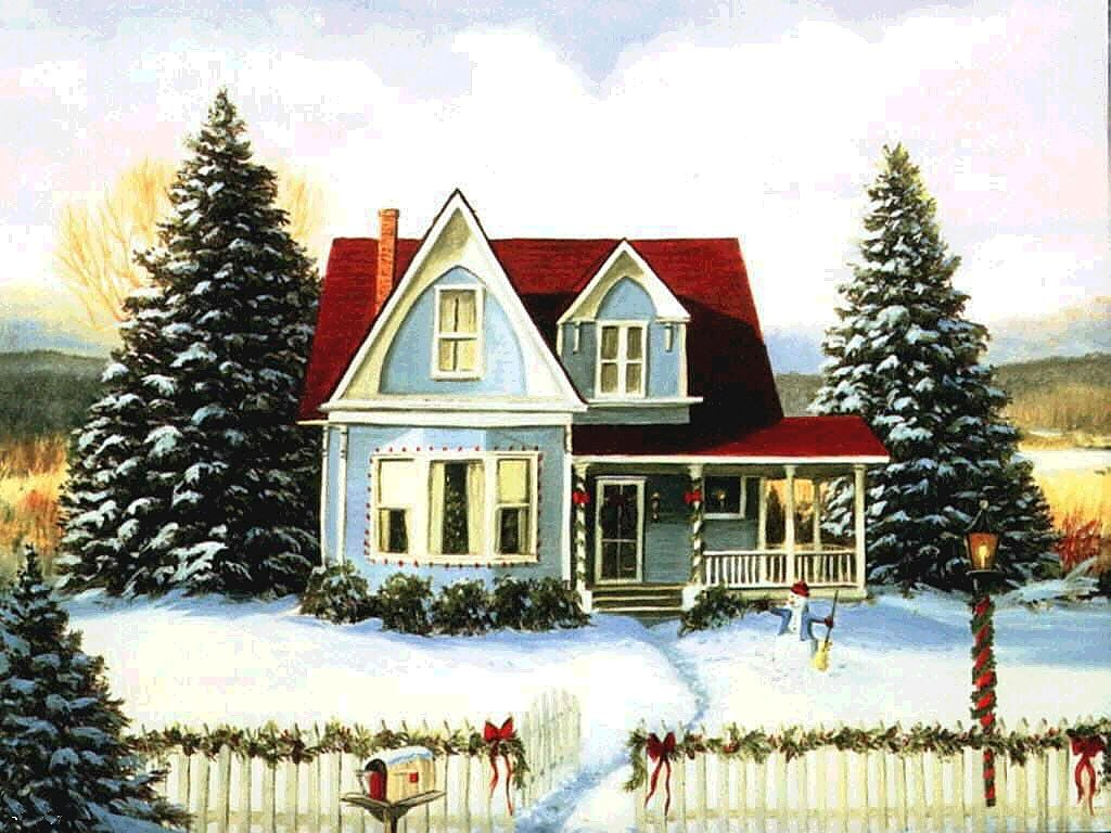 068 vánoční krajina - Christmas landscape