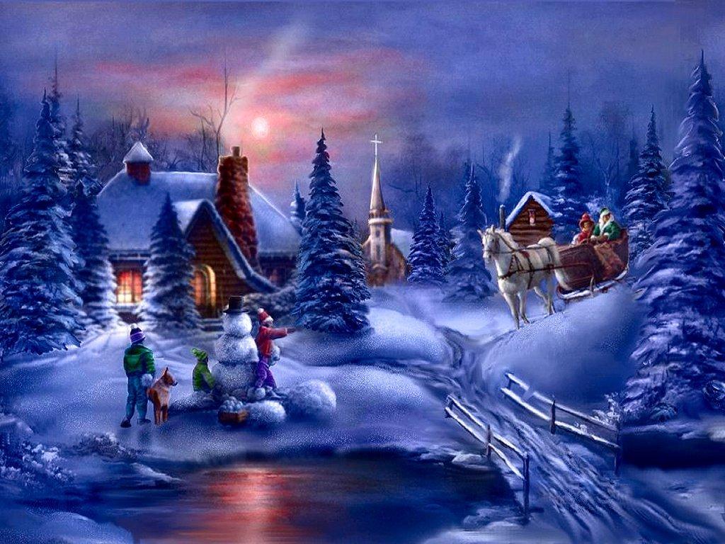 072 vánoční krajina - Christmas landscape