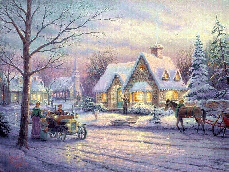 073 vánoční krajina - Christmas landscape
