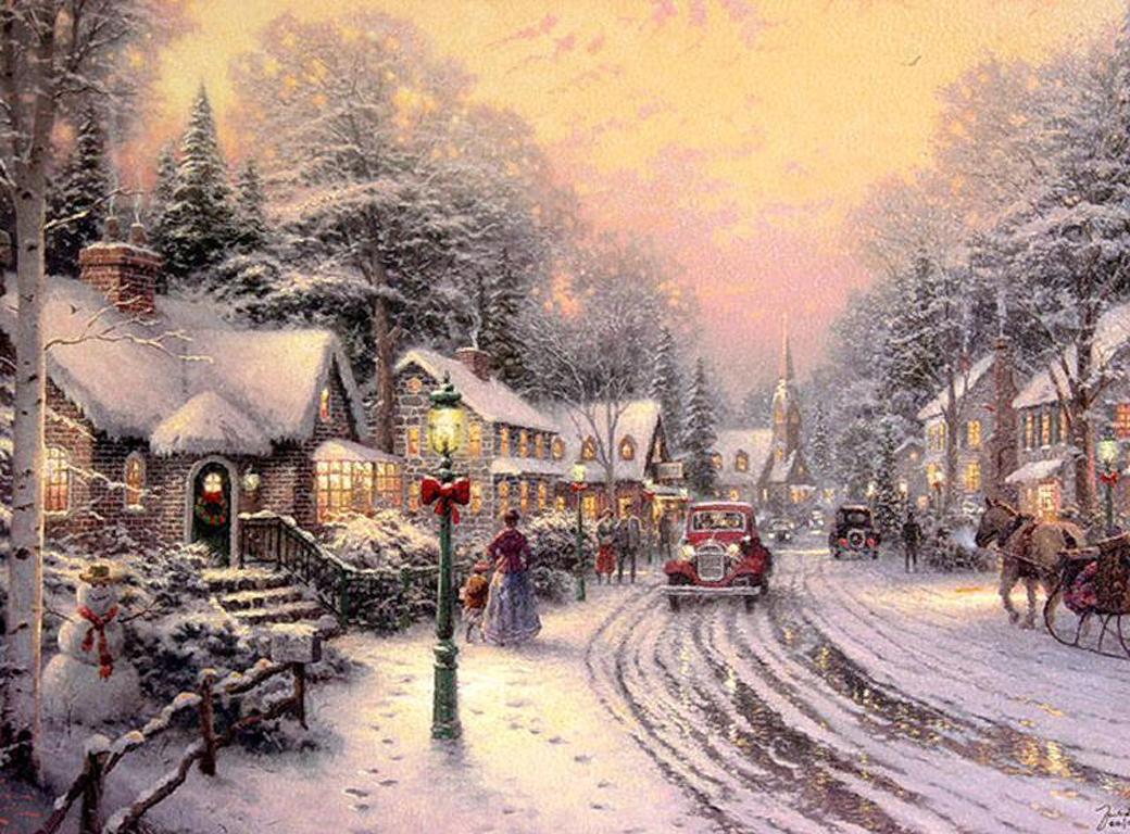 074 vánoční krajina - Christmas landscape