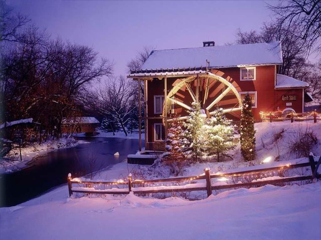 076 vánoční krajina - Christmas landscape
