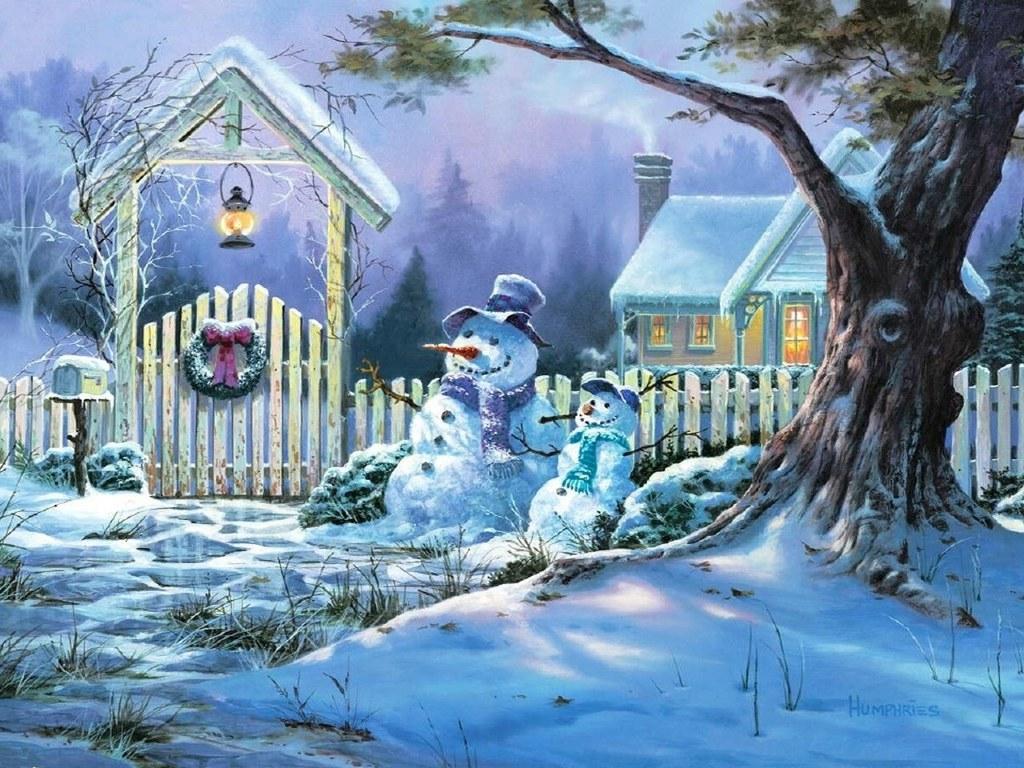 080 vánoční krajina - Christmas landscape