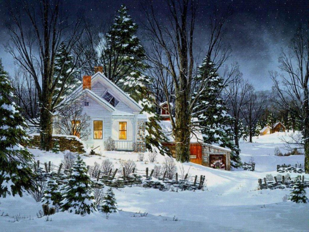 081 vánoční krajina - Christmas landscape
