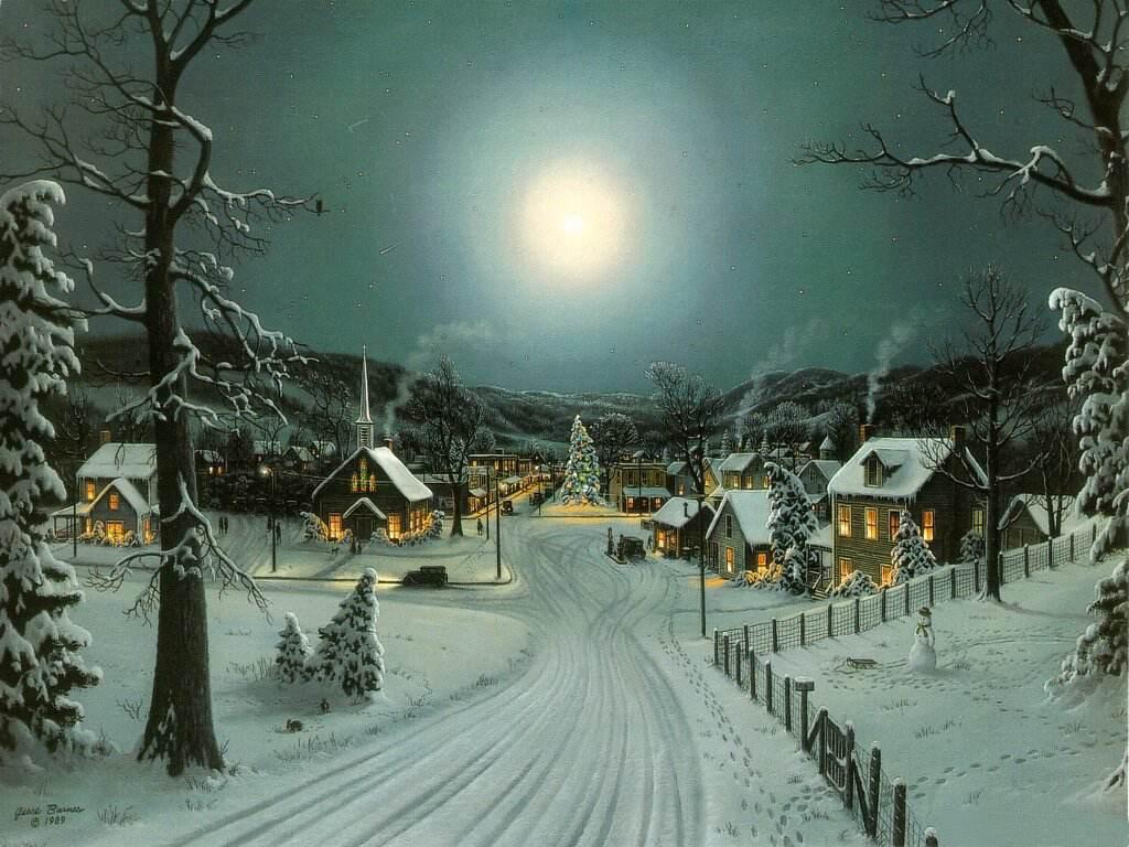 082 vánoční krajina - Christmas landscape