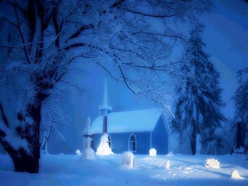 083 vánoční krajina - Christmas landscape