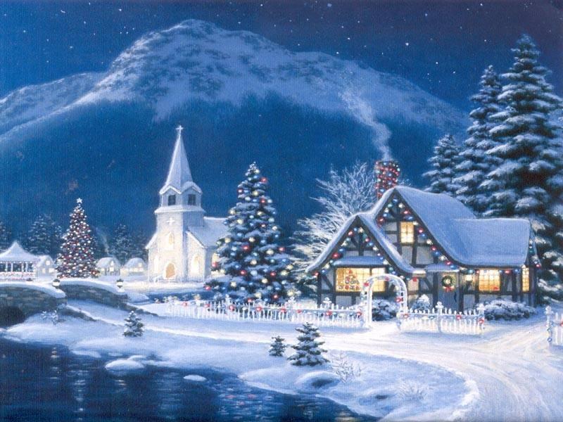 084 vánoční krajina - Christmas landscape