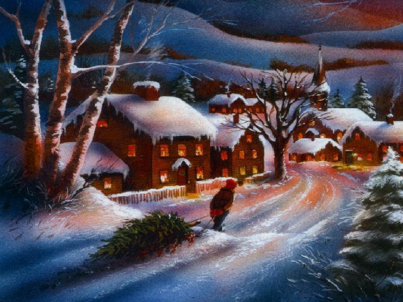 005 vánoční krajina - Christmas landscape