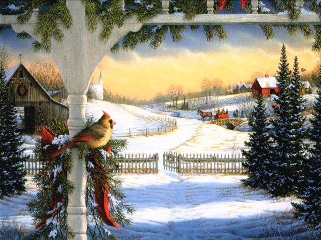 008 vánoční krajina - Christmas landscape
