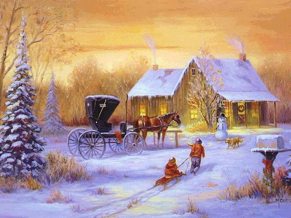009 vánoční krajina - Christmas landscape